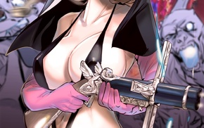 long hair, anime, anime girls, cleavage, nuns, weapon