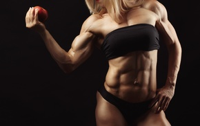 muscles, apples, girl