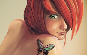 redhead, face, girl, green eyes, butterfly, artwork