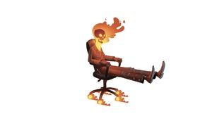 minimalism, skull, chair, Ghost Rider