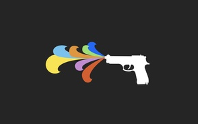 minimalism, gun, colorful