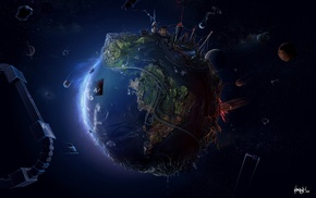 digital art, geography, space, Earth, planet, satellite