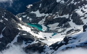 snow, nature, mountains, river, lake, canyon