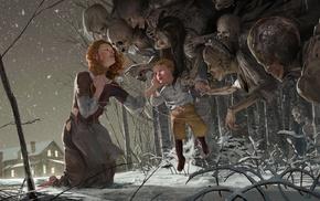 skeleton, artwork, winter, ghosts, fairy tale, redhead