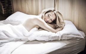 closed eyes, girl, in bed, smiling, strategic covering, La Seydoux