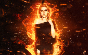 actress, fire, girl, Scarlett Johansson, red, Hollywood