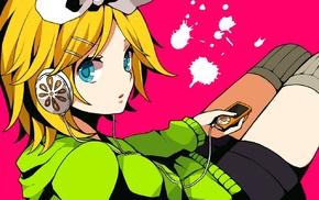 headphones, Kagamine Rin, shorts, Ipod