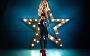 leather leggings, high heels, blonde, black bras, pants, girl