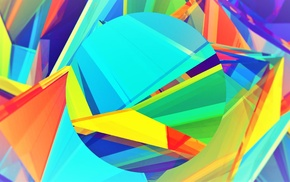 abstract, blue, 3D, yellow, green, purple