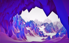 purple, cave, 3D, blue, bright, white