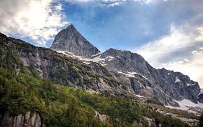 nature, landscape, summer, clouds, mountains, cliff