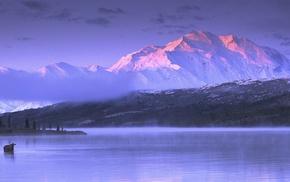 landscape, lake, Alaska, moose, nature, cold