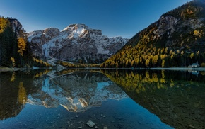 mountains, Italy, reflection, nature, church, landscape