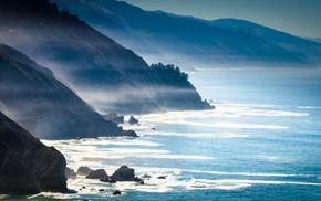 nature, mountains, mist, California, coast, sea