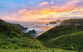 landscape, sky, sea, nature, rocks, Japan