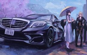 original characters, dress, cherry blossom, Mercedes, Benz, umbrella