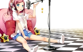 headphones, microphone, anime girls, Kantoku, Koi Suru Kanojo no Bukiyou na Butai, Chiyoda Momoka