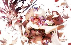 birds, Deemo, dress, flowers