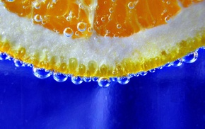 blue background, closeup, orange fruit, water, underwater, bubbles