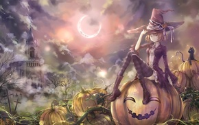 Halloween, blonde, anime, castle, witch, Moon