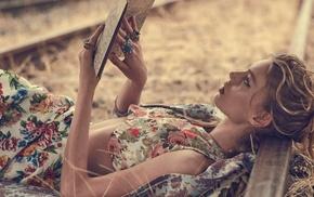 lying on back, rings, blonde, map, long hair, model