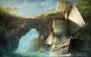 digital art, pirates, ship, Caribbean, bay, water