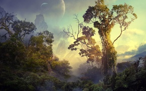 sky, Bushes, space, forest, trees, planet