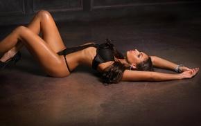 black lingerie, brunette, ass, high heels, girl, on the floor