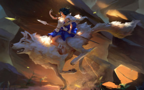 Princess Mononoke, wolf, anime girls