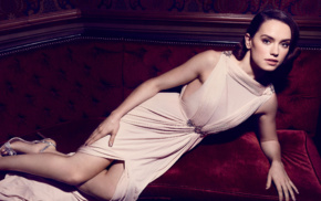 lying on side, Daisy Ridley, high heels, glamour, celebrity, brunette