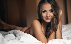 in bed, face, bra, panties, red lingerie, girl