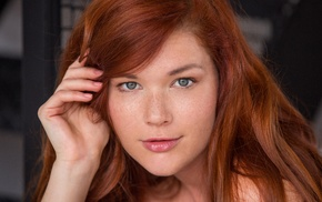 redhead, looking at viewer, face, girl, Mia Sollis, hazel eyes
