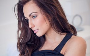 girl, Michaela Isizzu, brunette, looking away, tank top, face