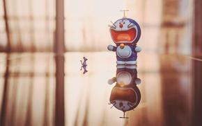 Doraemon, toys, mice, reflection