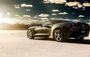 Chevrolet Corvette Stingray, vehicle, clouds, car, desert