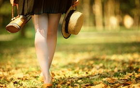 girl, depth of field, leaves, skirt, hat, girl outdoors