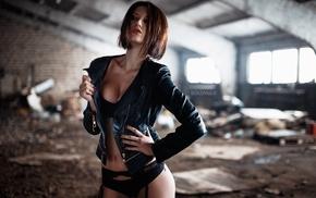 looking away, black lingerie, girl, jacket, garter belt
