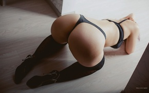 thigh, highs, ass, girl, bra, black lingerie
