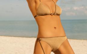 girl, bikini, model, girl outdoors, hands on head, armpits
