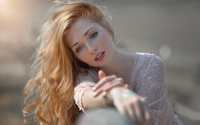 redhead, model, portrait, girl, depth of field, blue eyes