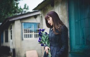 urban, girl, Asian, flowers