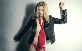 blonde, model, girl, red panties, tie