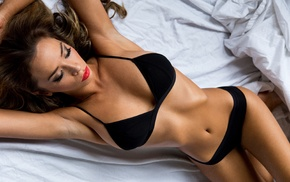 model, black panties, black bras, girl, in bed