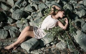 girl, rock, girl outdoors, model