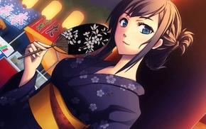 blue eyes, kimono, brunette, anime, Japanese clothes, anime girls
