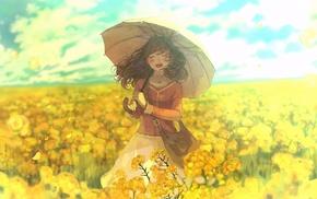 anime, umbrella, original characters, anime girls
