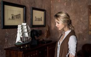 long hair, depth of field, blonde, Alice Tarasenko, girl, Maxim Guselnikov