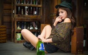 long hair, hat, legs, model, auburn hair, sitting