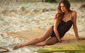 beach, girl, one, piece swimsuit
