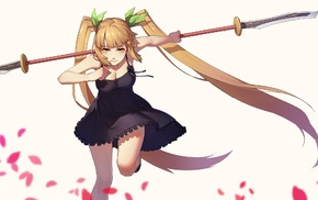 anime, weapon, dress, Sangai Senki, twintails, blonde